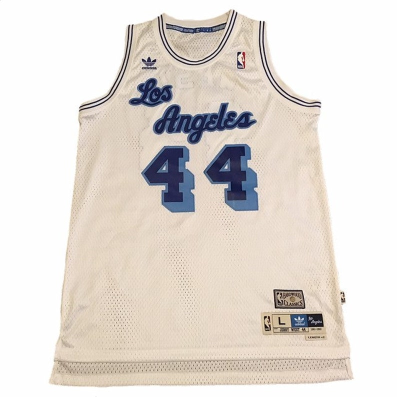 best service 8bde4 68cea Throwback LA Lakers Jerry West Jersey