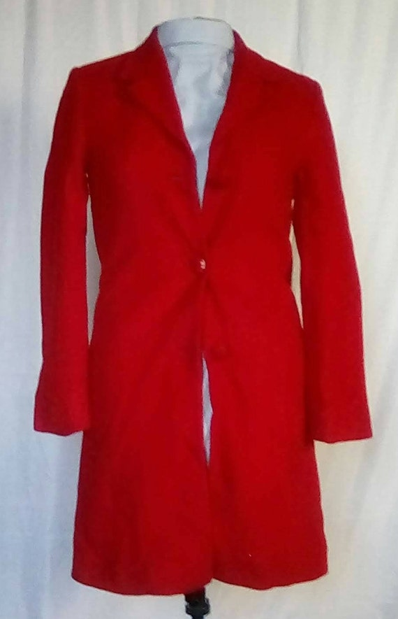 Medium 1980s Red Cashmere Wool Overcoat Trench Cas