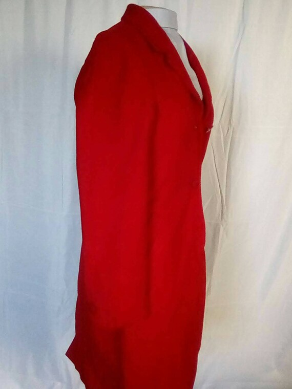 Medium 1980s Red Cashmere Wool Overcoat Trench Ca… - image 3