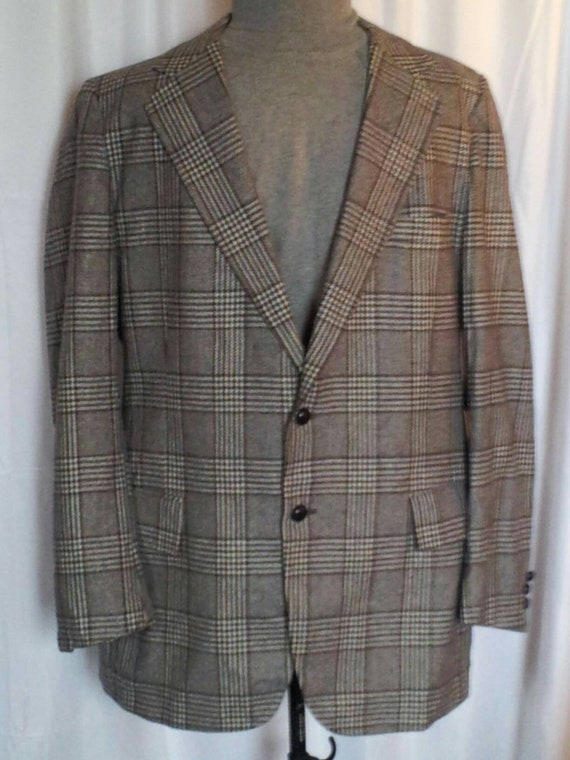 VTG 70s 46S Grey Glen Plaid Blazer Sport Coat 100%