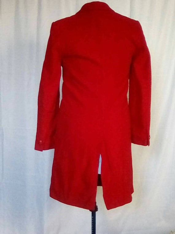 Medium 1980s Red Cashmere Wool Overcoat Trench Ca… - image 6