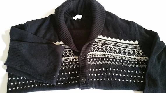 XXL 1970s Haband Shawl Collar Sweater VTG