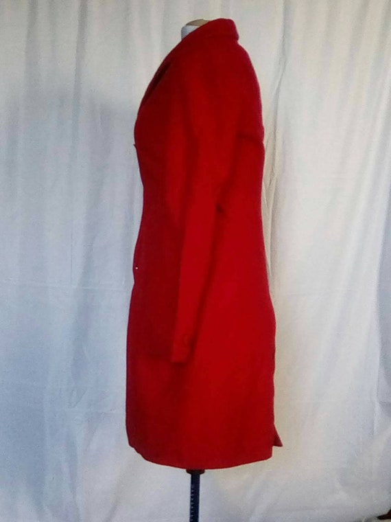 Medium 1980s Red Cashmere Wool Overcoat Trench Ca… - image 7