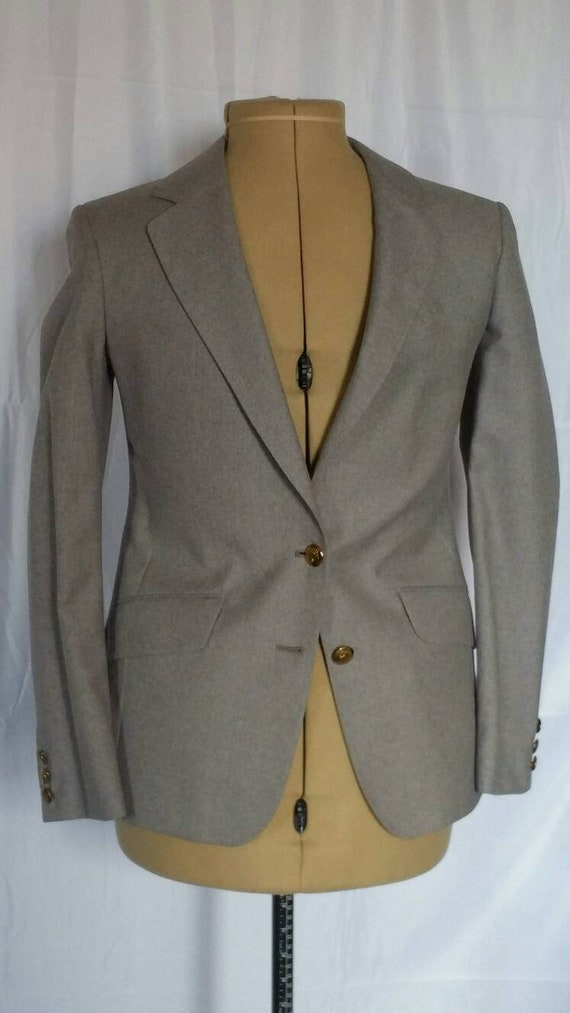 Small 1970s Aquascutum Grey Virgin Wool Blazer Spo