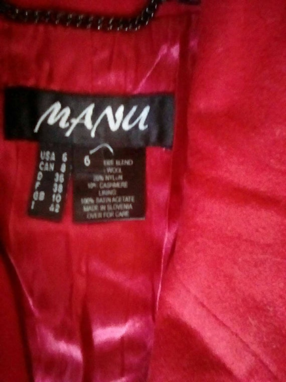 Medium 1980s Red Cashmere Wool Overcoat Trench Ca… - image 4