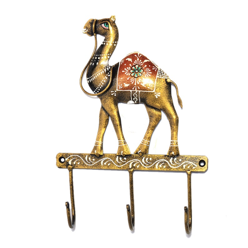 Handcrafted Home Decor Iron Hand Painted Wall Camel 3 Hook