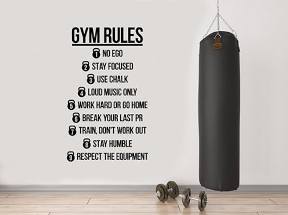 Gym Rules Motivational Quotes Wall Decal Sports Workout Crossfit Inspirational Saying Vinyl Sticker Art Home Interior Room Fitness Decor 7fs