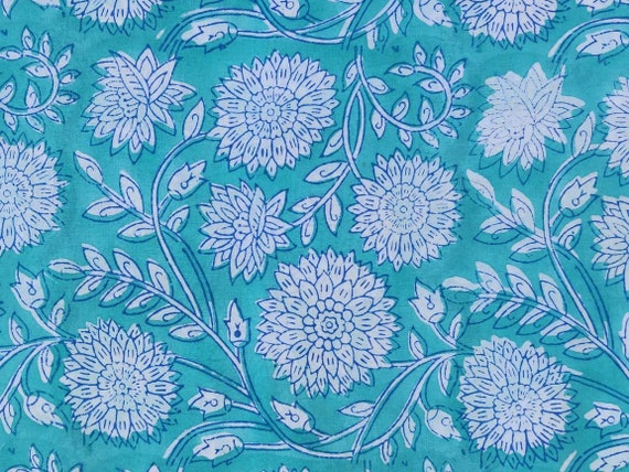 Pure Cotton Strip Print Turquoise Color By Yard Hand Block Print Cotton Fabric