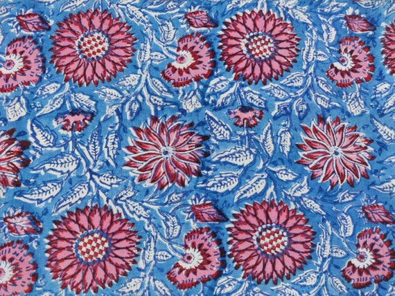5 Yards Cotton Voile Fabric Dyes Sewing Dressmaking Fabric Bohemian Craft India