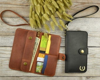Personalized Leather Purse Leather ClutchLeather Wristlet Wallet for WomanGift for Her Brown Leather Handbag Tote Leather Shoulder Bag