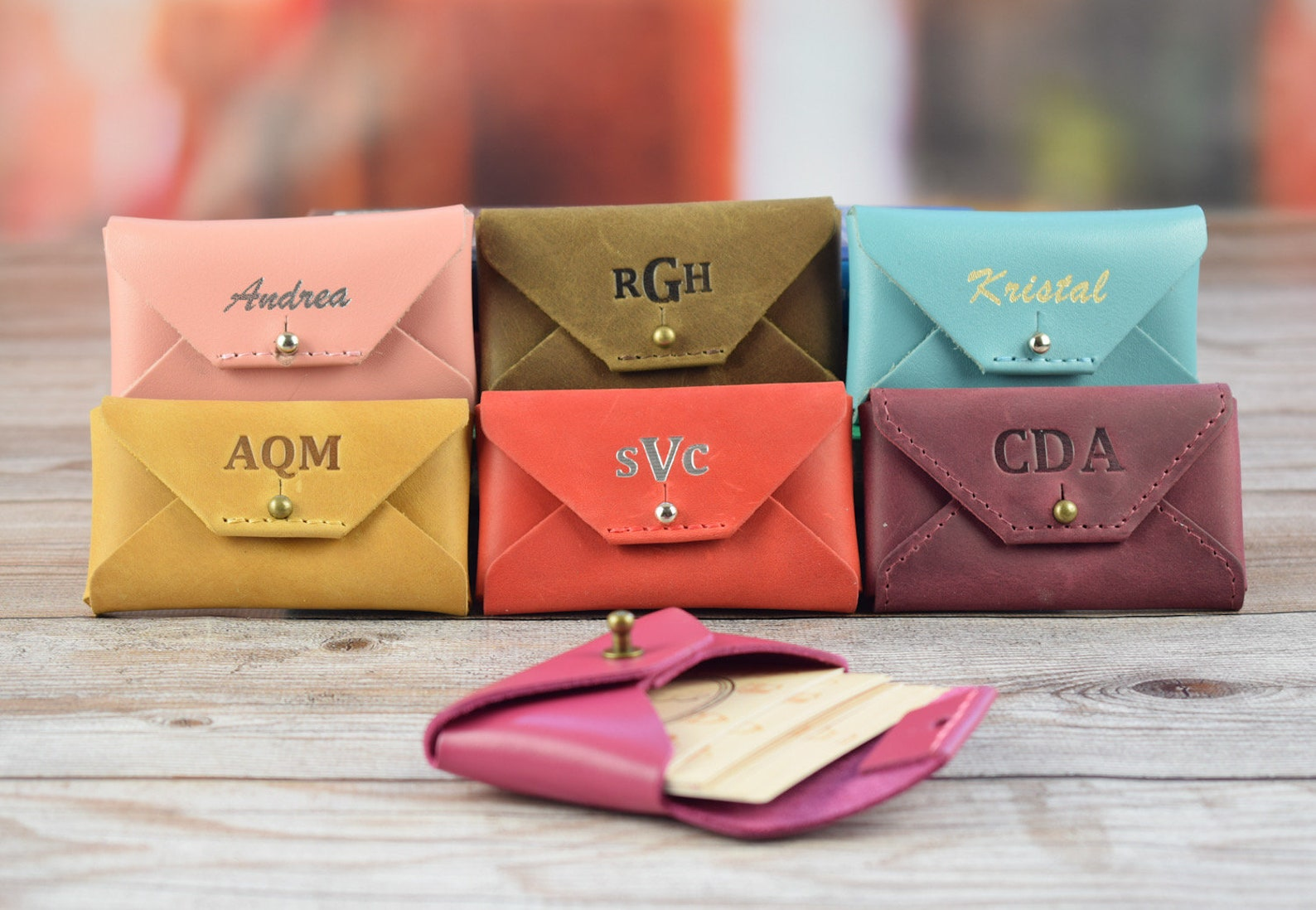 Personalized leather business card holder/Leather credit card holder