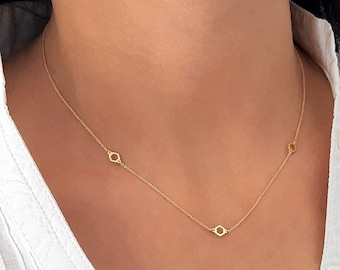 14K Yellow Gold Hexagon Necklace,Sideways Hexagon Necklace,Layering Necklace,Sideways Tiny Hexagons Charm,Solid Gold Choker Necklace