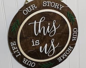 Door Hanger, Wooden Sign, This Is Us Wood Door Hanger, Door Decor, Best Gift Ever, Front door decor, New Home Gifts, This Is Us, Wall Decor