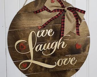Door Hanger, Wooden Sign, Live Laugh Love Door Hanger, Door Decor, Best Gift, Front door decor, New Home Gifts, Live Laugh Love, Wall Decor