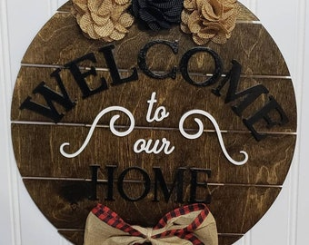 Welcome Door Hanger, Wooden Sign, Welcome Wood Door Hanger, Door Decor, Best Gift, Front door decor, new home gifts, Welcome To Our Home