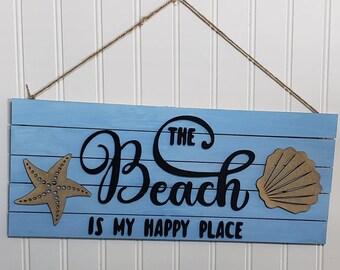 Door Hanger, Wooden Sign, Beach Door Hanger, Door Decor, Best Gift Ever, New Home Gifts, , Wall Decor, Beach is my Happy Place, Sun Lovers