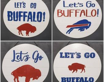Door Hanger, Wooden Sign,Buffalo Bills Wood Door Hanger, Door Decor, Front Door Decor, New Home, Wall Decor, Let's Go Buffalo, Buffalo Bills