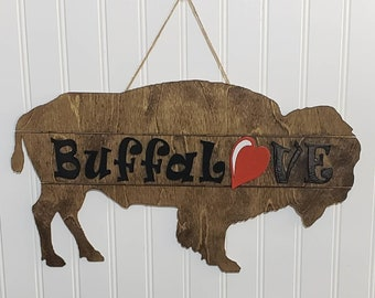 Door Hanger, Wooden Sign, Buffalo NY Inspired Wood Door Hanger, Door Decor, Buffalove, new home gifts, Welcome Signs, Wall Decor