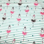 50 cm (10.90eur/meter) Jersey Fabric Girl Ballerina Stripes
