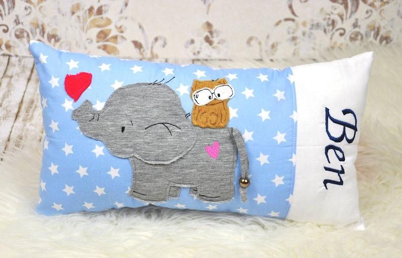 Pillow name cushion elephant blue image 0