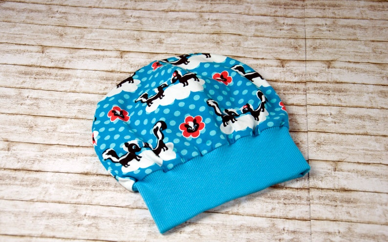 Beanie Cuff beanie hat children's hat blue KU 50/52 image 0
