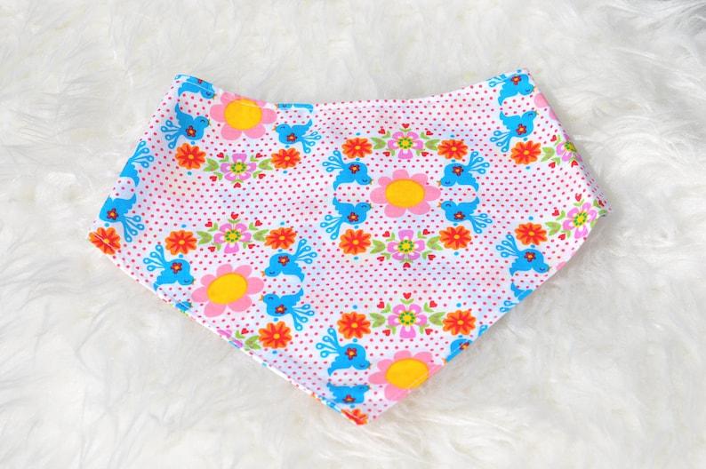 Neckerchief baby cloth triangle cloth flowers birds pink image 0