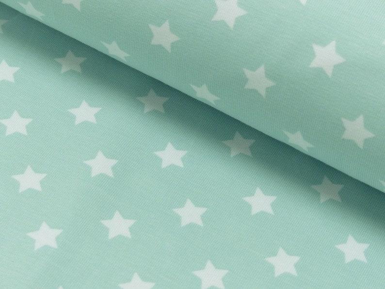 50 cm 10.50 eur/meter jersey fabric kids stars mint image 0