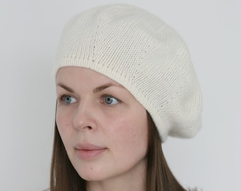 f5f475de59070 Pure Italian cashmere ivory white hand knitted women s french beret  Verafovere