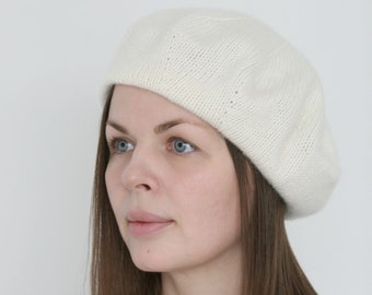 b686a8030df5c Pure Italian cashmere ivory white hand knitted women's french beret  Verafovere