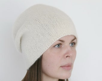 a21c720f5fc Pure Italian cashmere ivory white hand knitted women s beanie hat Verafovere