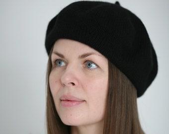 6345450e8c369 Black pure Italian cashmere hand knitted women s beret 8 Ply Verafovere