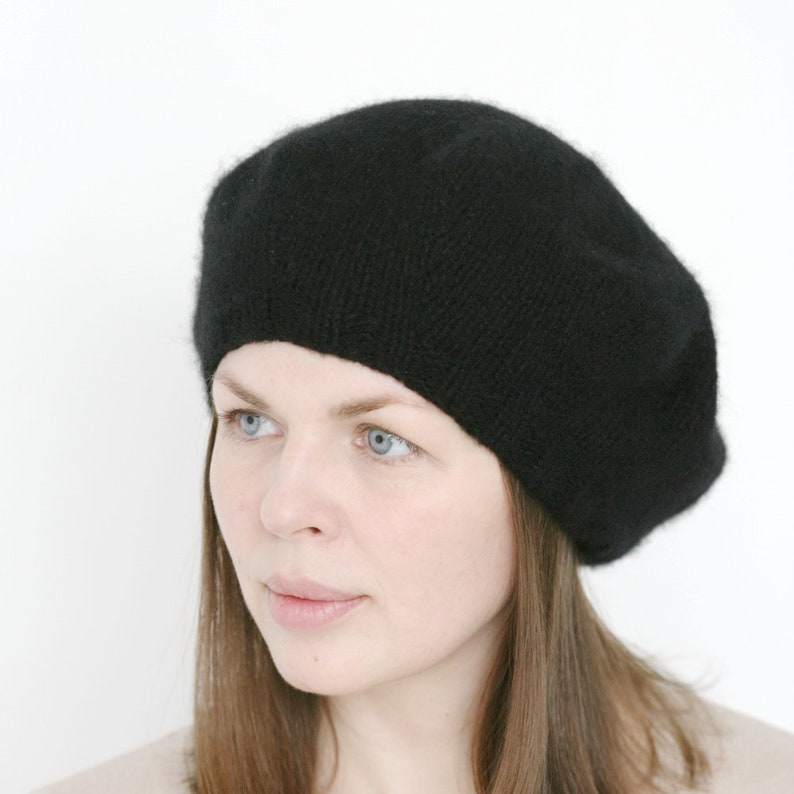 100/% cashmere beret black thick hand knitted soft warm french women/'s beret Verafovere