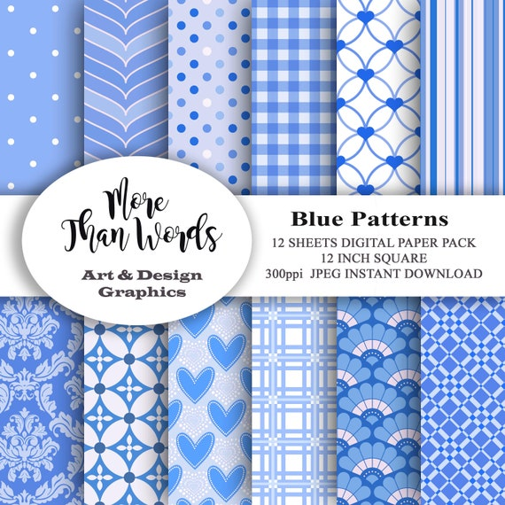 Get Blue Patterns Digital Paper Crafter Files