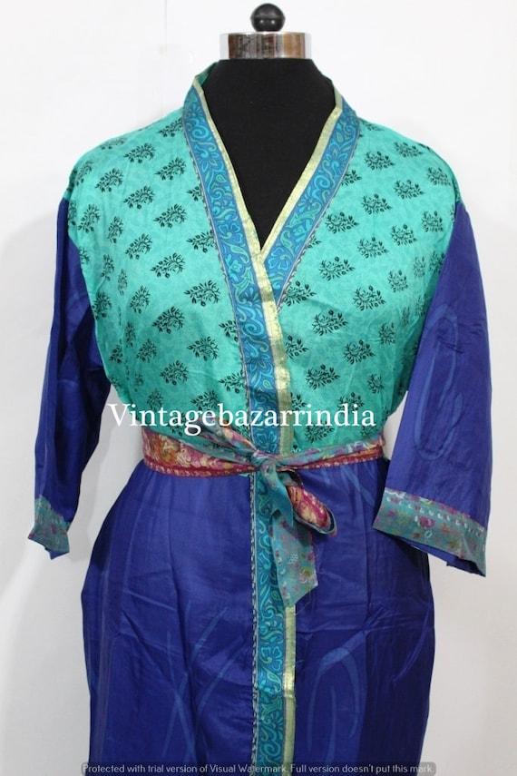 vintage silk sari kaftan beautiful floral print caftan robe women/'S Night Wear Dress long bathrobe