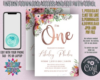 1st Birthday Invitation Rose Gold Blush Floral First Party Invite Baby One DIY JPEG PDF Instant Download