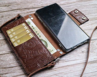 Crossbody Strap Personalization Galaxy A42 5G A51 5G UW A01 Core A90 A80 A71 A70s A70 A60 A51 A50s A50 A40Leather Wallet Case Tooled Leather