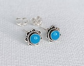 925 Sterling Silver Dainty Tiny Turquoise Southwest Inspired, Indian Inspired Bohemian Boho Flower Stud Earrings for Earlobe Piercing