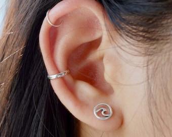 048a4c50b 925 Sterling silver wave earrings, Ocean earrings, sea jewelry, surf jewelry,  silver wave stud earrings, Tiny silver wave, ocean jewelry