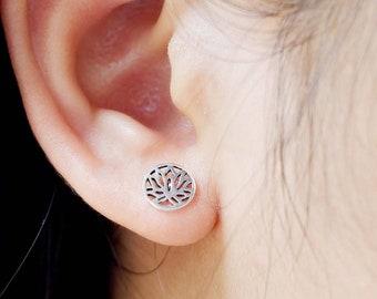 cd185f4dc 925 Sterling Silver Dainty Tiny Lotus Flower Stud Earrings for Earlobe Cartilage  Tragus Piercing Helix - Yoga Boho Bohemian Tribal Jewelry