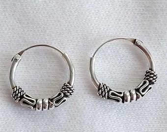 8441a28c5 925 Sterling Silver Small Hoop Earrings, Silver Hoop Earrings, Bali Hoops,  Cartilage Hoop Earrings, 10mm Hoops, Unisex Hoops