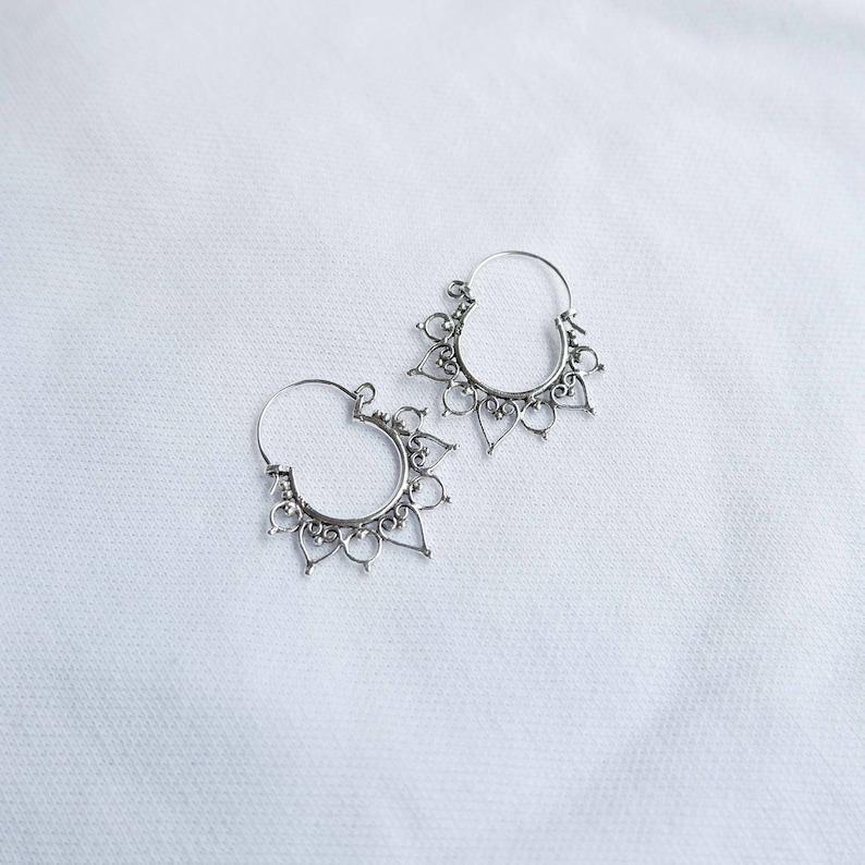 Ethnic Hoops Bohemian Indian Beaded Earrings 925 Sterling Silver Tribal Dotted Hoop Earrings Earrings Boho Hoop Earrings Lotus Hoops