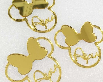 20PCS Personalized Engraved Mirror Mini Mouse Lettering Name Card Tags Baby Shower Party Birthday Decor