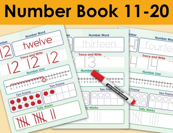 Numbers And Counting 11 To 20 Printable Workbook. Pre-K Etsy