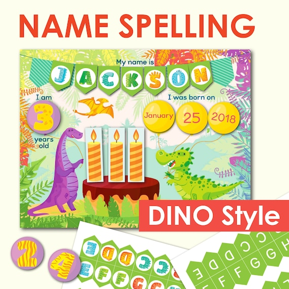 DINOSAUR Name Spelling Printable Toddler Activity. Busy Book
