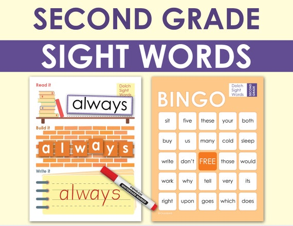 2nd Grade Dolch Sight Words. Literacy Practice Worksheets. Etsy