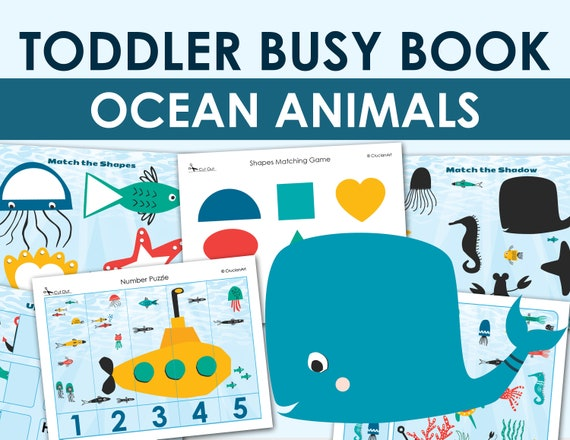 Printable Toddler Busy Book  Ocean Learning Quiet Workbook
