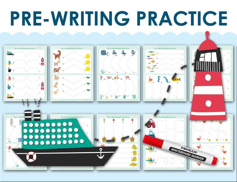 Pre School Pre-Writing Worksheet Preschool Writing Printable Etsy