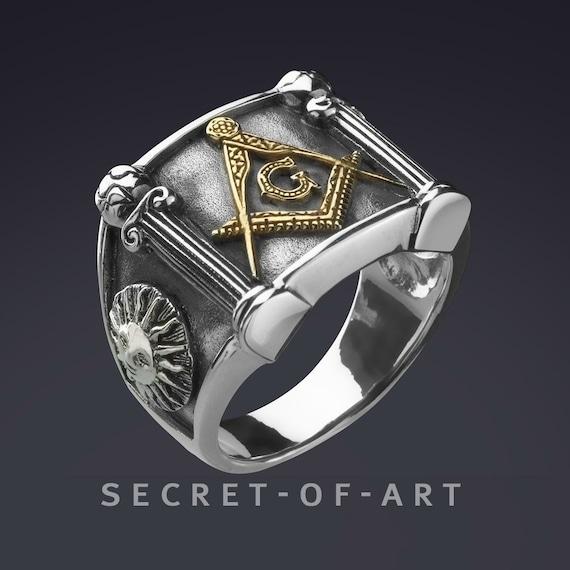 Freimaurer Ring Siegelring Master Mason Masonic G and Pillars Freimaurer Schmuck Sterling Silber 925 mit Gelbgold Platterierung, Sonne Mond