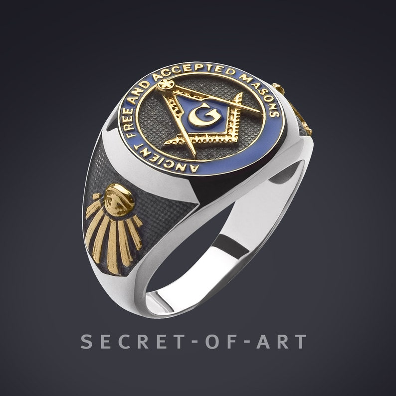 66c4eaae1e6b8 Men Masonic Ring AF & AM Ancient Free and Accepted Masons Freemason Silver  925 Sterling 24K-Gold Plated Parts