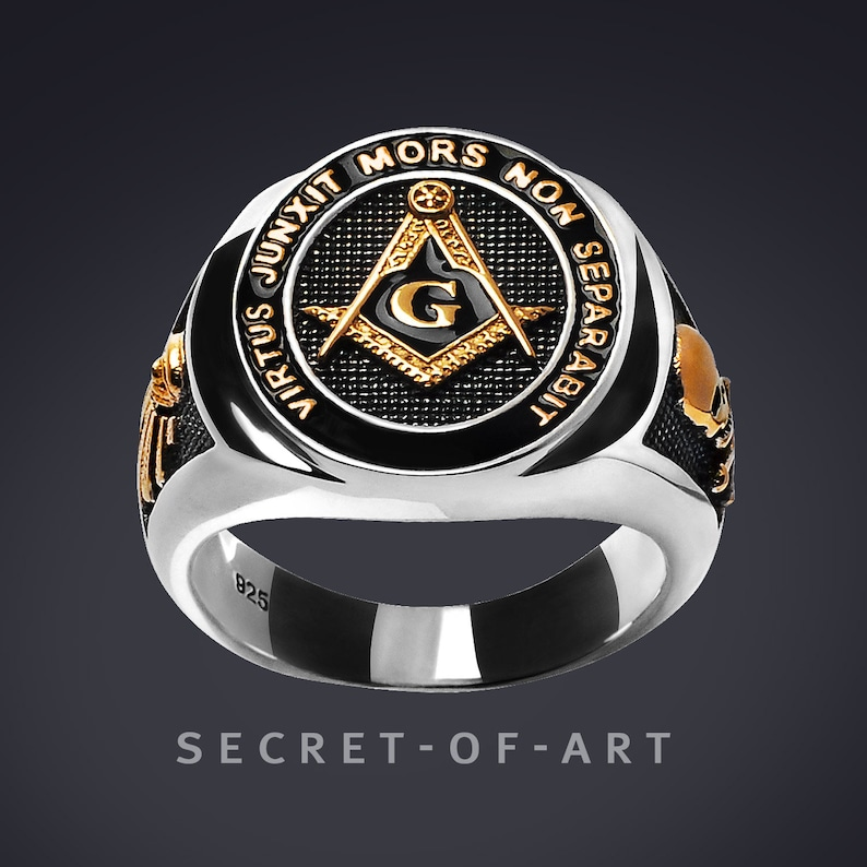 aefeb9f67db96 Masonic Ring Freemason Silver 925, All seeing eye, with 24K-Gold-Plated  Parts, Virtus junxit